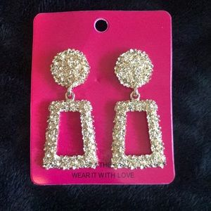 Ultra Glam Texture Sparkle Statement Gold Earrings